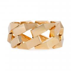 French Retro Gold Stylized Curb Link Bracelet - 1636115