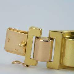 French Retro Gold Tank Track Bracelet - 112354