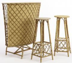 French Riviera witty rattan bar and its pair of bar stools - 1650439