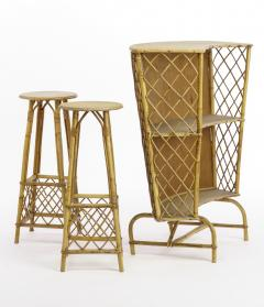 French Riviera witty rattan bar and its pair of bar stools - 1650440