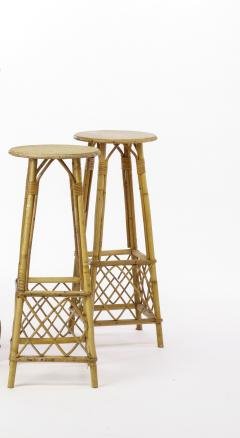 French Riviera witty rattan bar and its pair of bar stools - 1650442