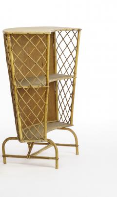 French Riviera witty rattan bar and its pair of bar stools - 1650443