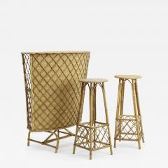 French Riviera witty rattan bar and its pair of bar stools - 1650895