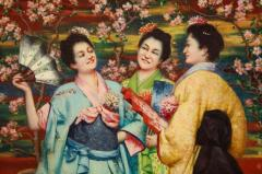French School A Fine French Japonisme Oil on Canvas Painting of Three Geishas C 1900 - 2128766