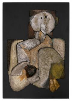 French Sculptural Ceramic Raku Panel - 1090047