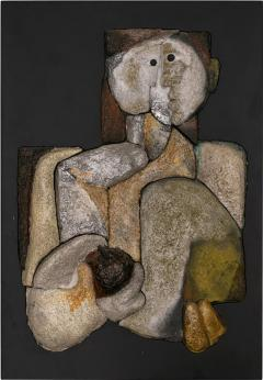 French Sculptural Ceramic Raku Panel - 1090989