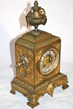 French Second Empire Bronze Dore Mantle Clock - 2066386