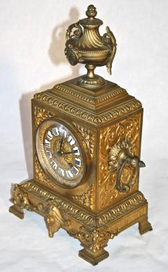 French Second Empire Bronze Dore Mantle Clock - 2066387