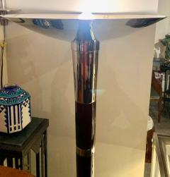 French Style Art Deco Floor Lamp Torchiere Wood and Chrome - 1352505
