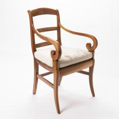 French cherry wood arm chair with rush seat and upholstered seat cushion - 1718752