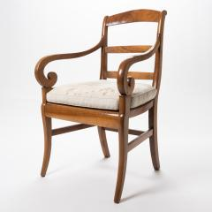 French cherry wood arm chair with rush seat and upholstered seat cushion - 1718754