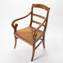 French cherry wood arm chair with rush seat and upholstered seat cushion - 1718756