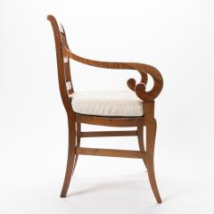 French cherry wood arm chair with rush seat and upholstered seat cushion - 1718757