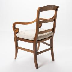French cherry wood arm chair with rush seat and upholstered seat cushion - 1718758