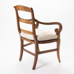 French cherry wood arm chair with rush seat and upholstered seat cushion - 1718759