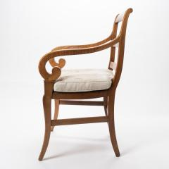 French cherry wood arm chair with rush seat and upholstered seat cushion - 1718761