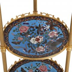 French cloisonn enamel and gilt metal three shelf tiered table in Empire style - 1942657