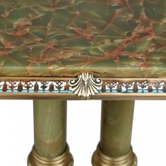 French green onyx side table mounted with gilt bronze and enamel - 2013603