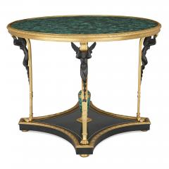 French malachite gilt and patinated bronze centre table - 1683152