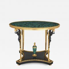 French malachite gilt and patinated bronze centre table - 1685093
