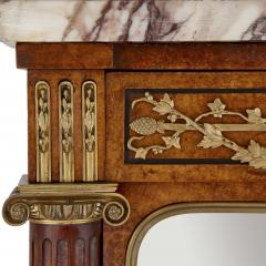 French marble gilt bronze and amboyna burl side cabinet - 1459540