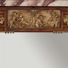 French marble gilt bronze and amboyna burl side cabinet - 1459544