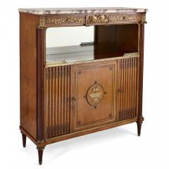 French marble gilt bronze and amboyna burl side cabinet - 1459550
