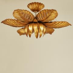 French mid Century gold palm leaf ceiling pendant - 1964462