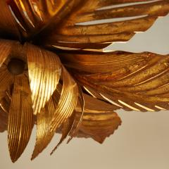 French mid Century gold palm leaf ceiling pendant - 1964482