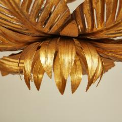 French mid Century gold palm leaf ceiling pendant - 1964483