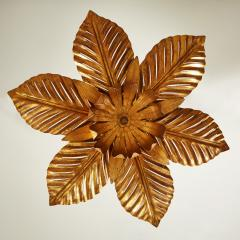 French mid Century gold palm leaf ceiling pendant - 1964484