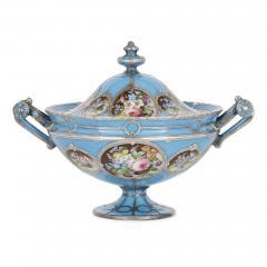 French silver and bleu celeste porcelain tea set - 2045138