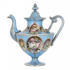 French silver and bleu celeste porcelain tea set - 2045139