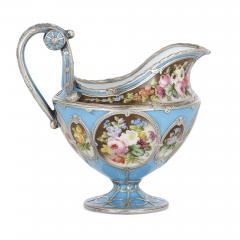 French silver and bleu celeste porcelain tea set - 2045140