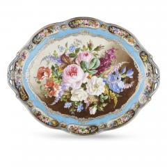French silver and bleu celeste porcelain tea set - 2045142