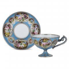 French silver and bleu celeste porcelain tea set - 2045143
