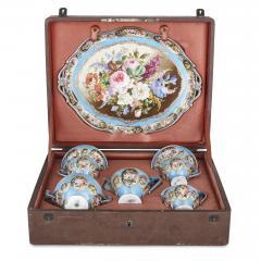 French silver and bleu celeste porcelain tea set - 2045145