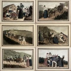 French watercolors set of 6 France 1885 - 1465472