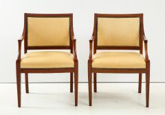 Frits Henningsen Pair of Frits Henningsen Mahogany and Leather Open Armchair circa 1940s - 1695249