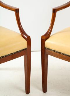Frits Henningsen Pair of Frits Henningsen Mahogany and Leather Open Armchair circa 1940s - 1695252