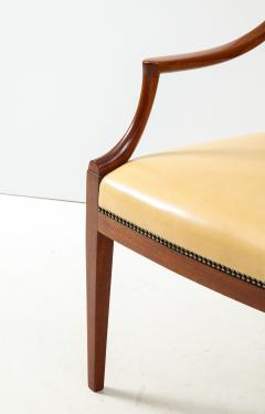Frits Henningsen Pair of Frits Henningsen Mahogany and Leather Open Armchair circa 1940s - 1695255