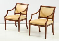 Frits Henningsen Pair of Frits Henningsen Mahogany and Leather Open Armchair circa 1940s - 1695257