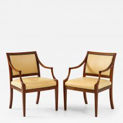 Frits Henningsen Pair of Frits Henningsen Mahogany and Leather Open Armchair circa 1940s - 1698371