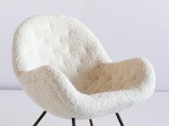 Fritz Neth Fritz Neth Egg Shaped Lounge Chair in Ivory Dedar Boucl Correcta Kassel 1950s - 1343497