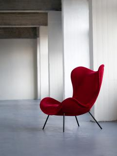 Fritz Neth Fritz Neth Madame Lounge Chair in Red Velvet for Correcta Germany 1950s - 1005610