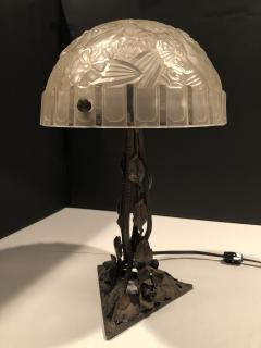 Frosted Glass and Wrought Iron Table Lamp - 1645179