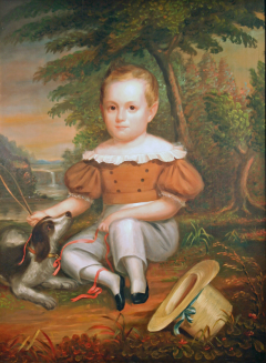 Full Length Portrait of a Young Boy with His Dog - 37398