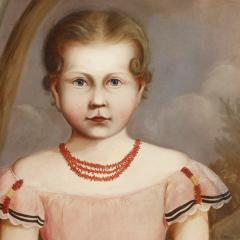 Full Length Portrait of a Young Girl Wearing a Pink Dress - 130964