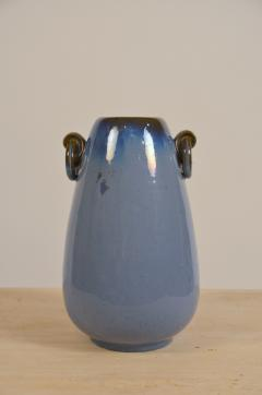 Fulper Pottery Prinstine Fulper Blue Glazed Pottery Handled Vase or Urn - 1087233