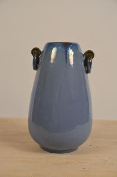 Fulper Pottery Prinstine Fulper Blue Glazed Pottery Handled Vase or Urn - 1087235